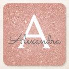 Pink Rose Gold Glitter & Sparkle Monogram Birthday Square Paper Coaster