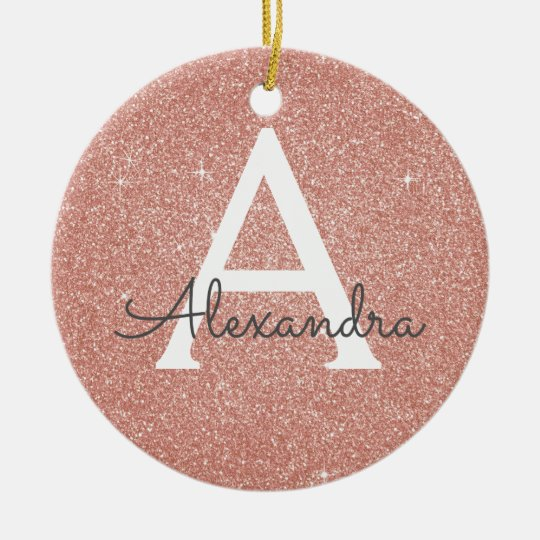 Pink Rose Gold Glitter & Sparkle Monogram Christmas Ornament