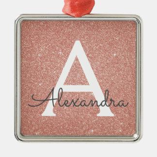 Pink Rose Gold Glitter & Sparkle Monogram Christmas Ornament