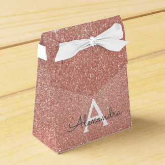 Pink Rose Gold Glitter & Sparkle Monogram Favour Box