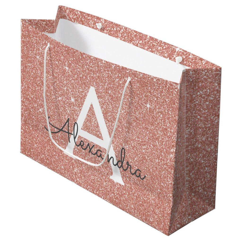 Pink Rose Gold Glitter & Sparkle Monogram Large Gift Bag
