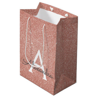 Pink Rose Gold Glitter & Sparkle Monogram Medium Gift Bag