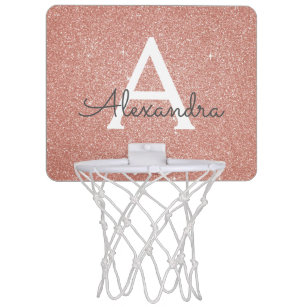 Pink Rose Gold Glitter   Sparkle Monogram Name Mini Basketball Hoop 47f92e6fff33