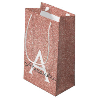 Pink Rose Gold Glitter & Sparkle Monogram Small Gift Bag