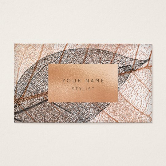 Pink Rose Gold Leaf Peach Glass Black White Business Card