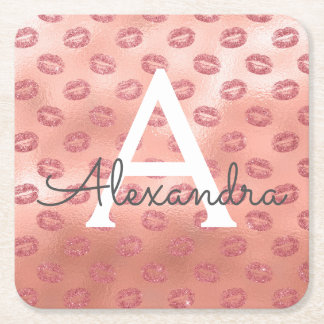 Pink Rose Gold Lipstick Kisses Monogram Birthday Square Paper Coaster