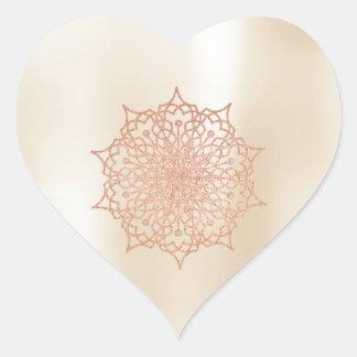 Pink Rose Gold Liz Mandala Heart Heart Sticker