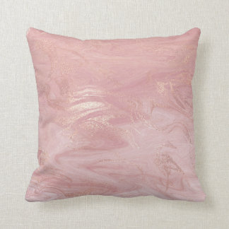 Pink Rose Gold Love Marble Molten Gold Abstract Cushion