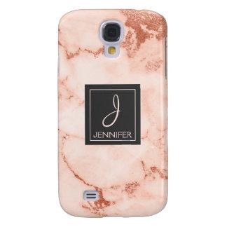 Pink Rose Gold Marble Elegant Monogram Galaxy S4 Case