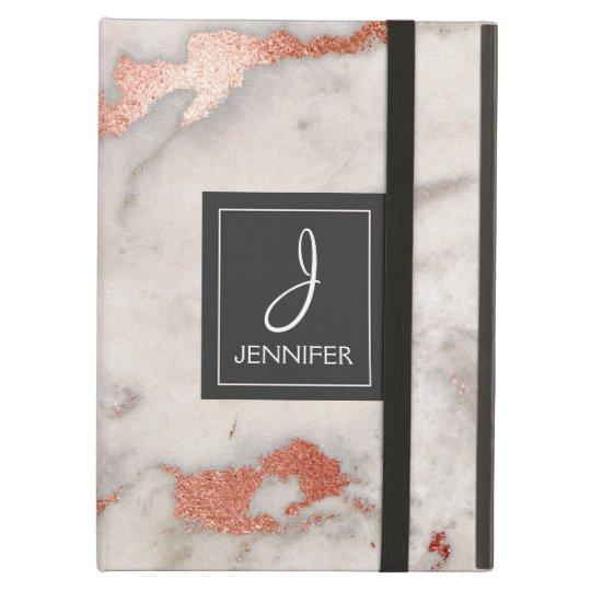 Pink Rose Gold Marble Elegant Monogram iPad Air