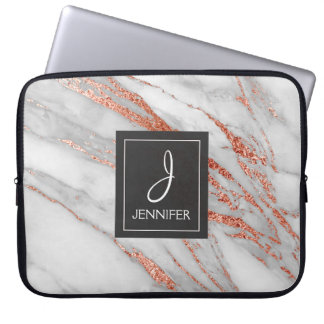Pink Rose Gold Marble Elegant Monogram Laptop Sleeve