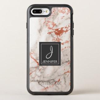Pink Rose Gold Marble Elegant Monogram OtterBox Symmetry iPhone 8 Plus/7 Plus Case