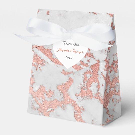 Pink Rose Gold Marble Heart Birthday Wedding Favor