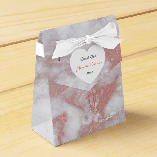 Pink Rose Gold Marble Heart Birthday Wedding Favor