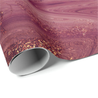 Pink Rose Gold Marble Molten Burgundy Blush Wrapping Paper