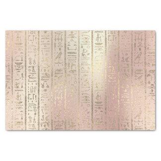 Pink Rose Gold Metallic Blush Egyptian Hieroglyphs Tissue Paper