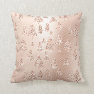 Pink Rose Gold Metallic Glitter Christmas Trees Cushion