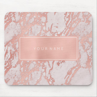 Pink Rose Gold  Metallic Marble White Rectangular Mouse Mat