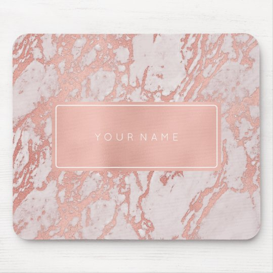 Pink Rose Gold Metallic Marble White Rectangular Mouse