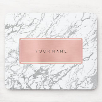 Pink Rose Gold Metallic Minimal White Marble Gray Mouse Mat