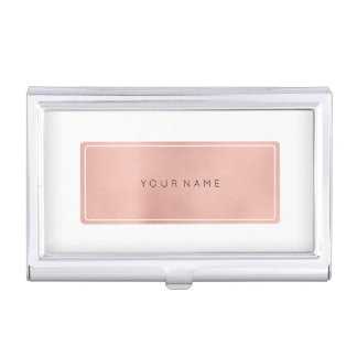 Pink Rose Gold Metallic Minimal White Rectangula Business Card Holder