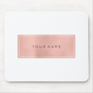 Pink Rose Gold Metallic Minimal White Rectangula Mouse Pad