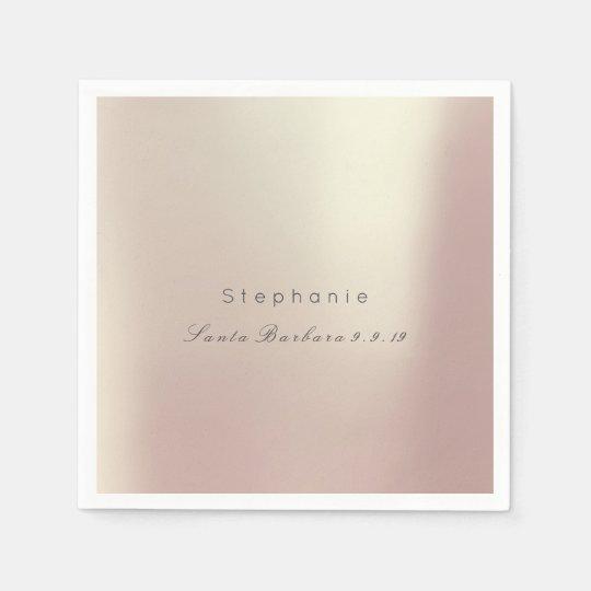 Pink Rose Gold Metallic Minimalism 1 Wedding Disposable