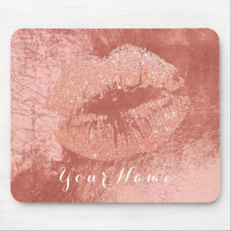 Pink Rose Gold Metallic Name Makeup Lips Kiss Mouse Mat