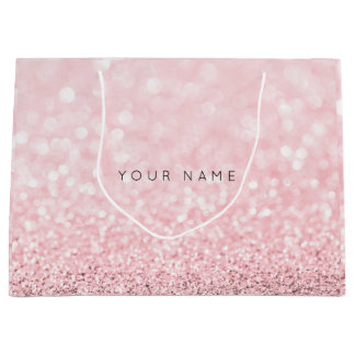Pink Rose Gold Powder Glitter Favor Gift Gray Large Gift Bag