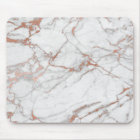 Pink Rose Gold Powder Gold White Gray Marble Mouse Mat