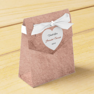 Pink Rose Gold Powder Heart Birthday Wedding Favor Party Favour Box