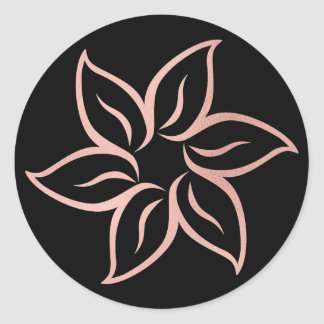 Pink Rose Gold Powder Metallic Mandala Flower Round Sticker
