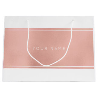 Pink Rose Gold Powder Metallic Minimal Gift Bag