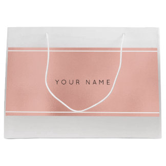Pink Rose Gold Powder Metallic Minimal Gift Gray Large Gift Bag