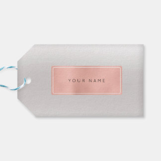 Pink Rose Gold Powder Metallic Minimal Silver Gray Gift Tags