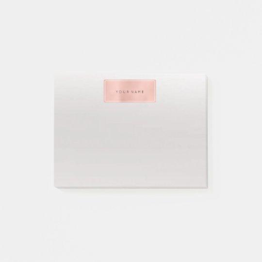 Pink Rose Gold Powder Rectangle Luxury Gray Post-it