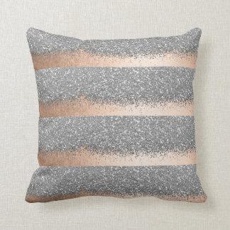 Pink Rose Gold Powder Silver Glitter Stripes Cushion