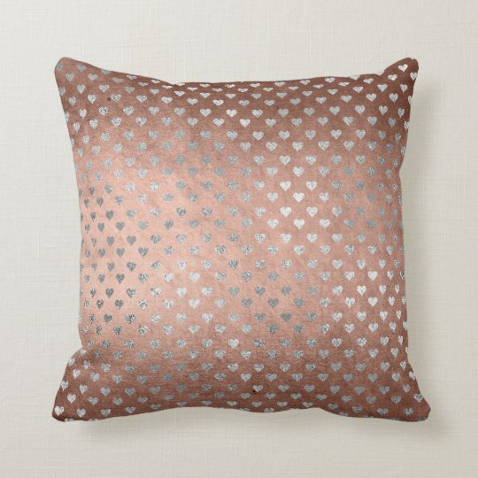Pink Rose Gold Powder Silver Hearts Glam Pillow