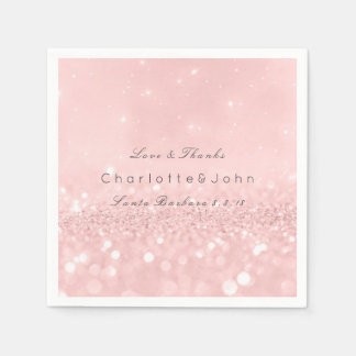 Pink Rose Gold Powder Sparkly Glitter Custom Paper Napkins