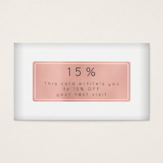 Pink Rose Gold Powder White Discount Beauty Salon Business Card