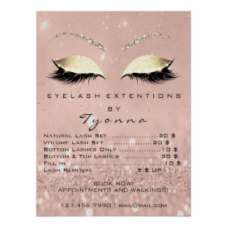 Pink Rose Gold Skinny Eyes Lashes Prices Poster
