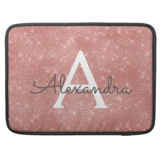 Pink Rose Gold Sparkle Modern Monogram Name Sleeve For MacBooks