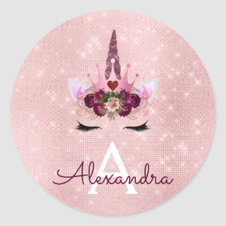 Pink Rose Gold Sparkle Unicorn Monogram Birthday Classic Round Sticker
