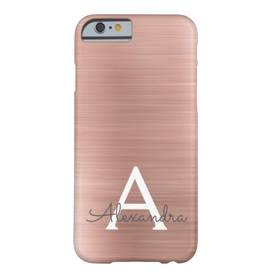 Pink Rose Gold Stainless Steel Monogram Barely There