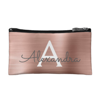 Pink Rose Gold Stainless Steel Monogram Makeup Bag