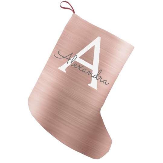 Pink Rose Gold Stainless Steel Monogram Small Christmas