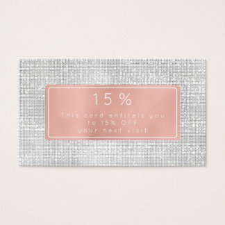 Pink Rose Gold White Silver Discount Beauty Salon Business Card