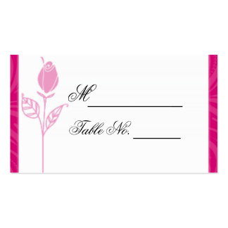 Pink Rose Graphic Wedding Place Card Business Cards