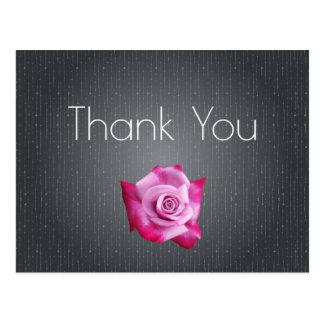 Pink Rose Grey Textured Thank You Postcard