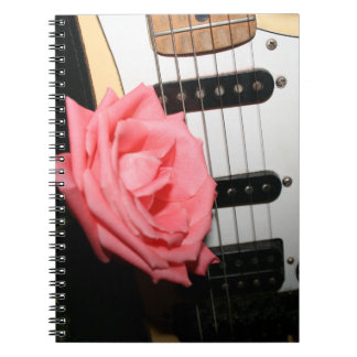 Pink rose guitar body strings pickguard music notebook